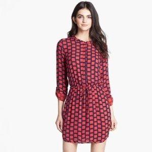 Splendid Red/ Navy Windowpane Shirtdress